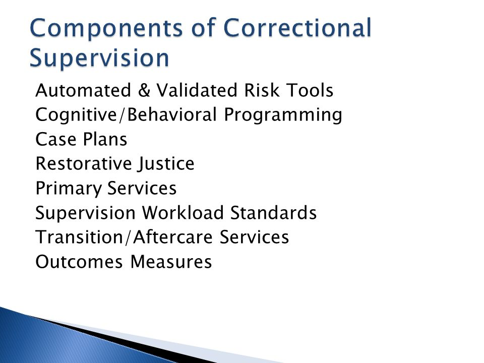 Components of Correctional Supervision