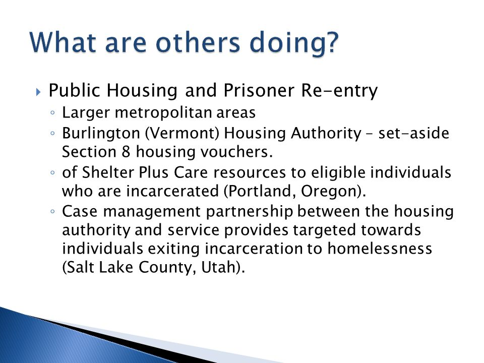 What are others doing Public Housing and Prisoner Re-entry