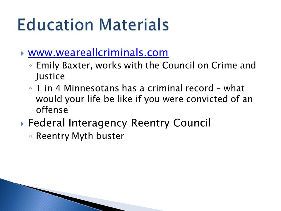 Education Materials www.weareallcriminals.com
