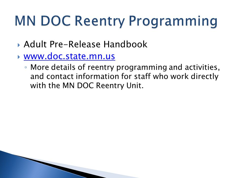 MN DOC Reentry Programming
