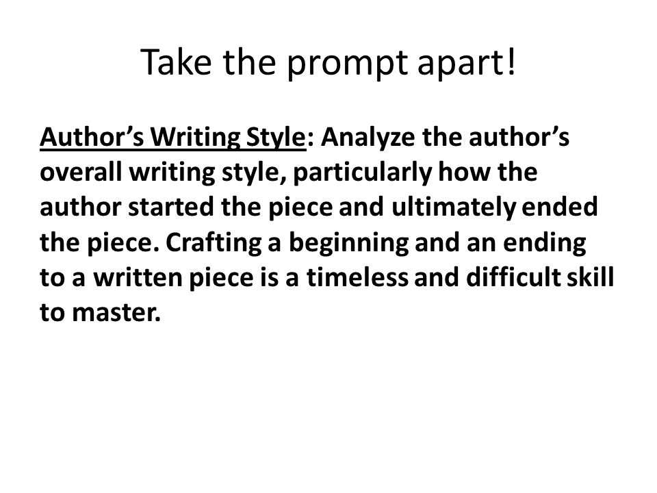 Take the prompt apart!