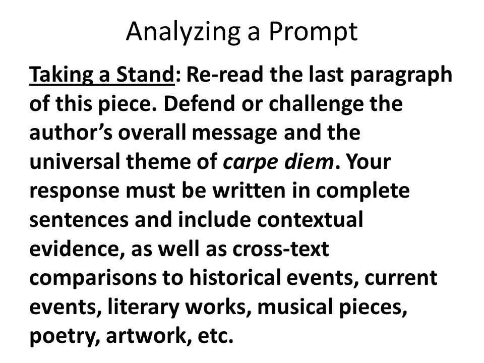 Analyzing a Prompt