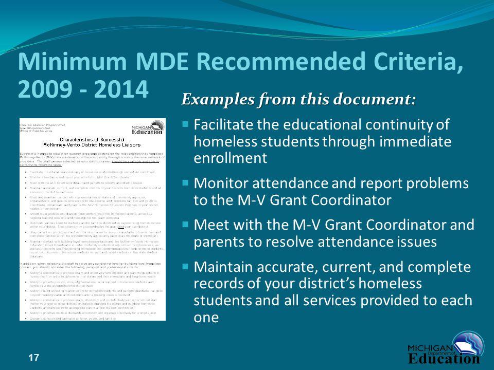 Minimum MDE Recommended Criteria, 2009 - 2014