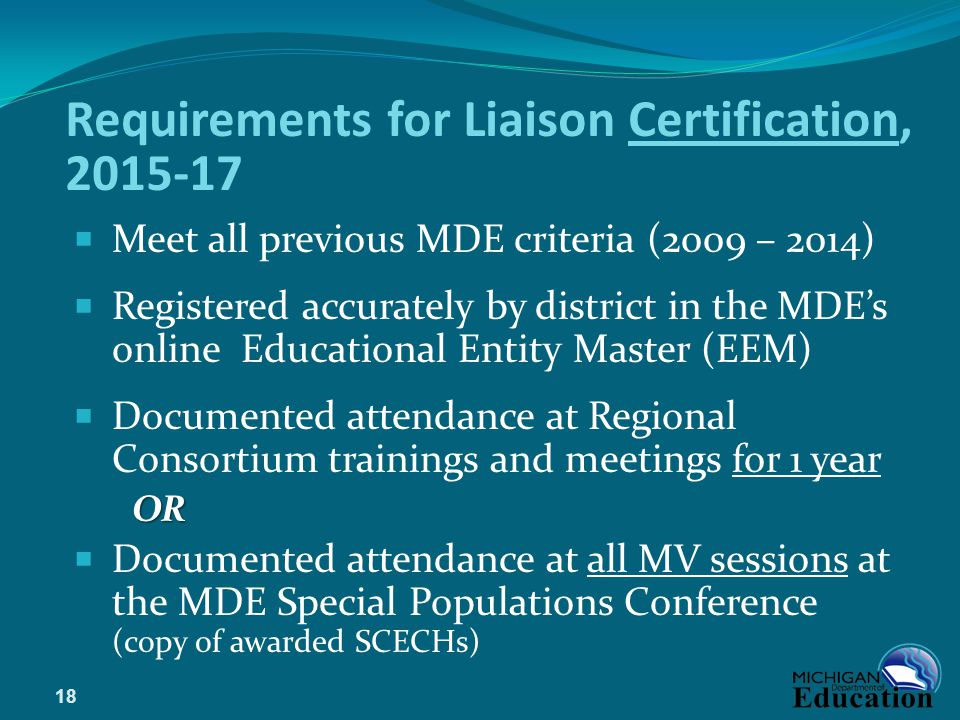 Requirements for Liaison Certification, 2015-17
