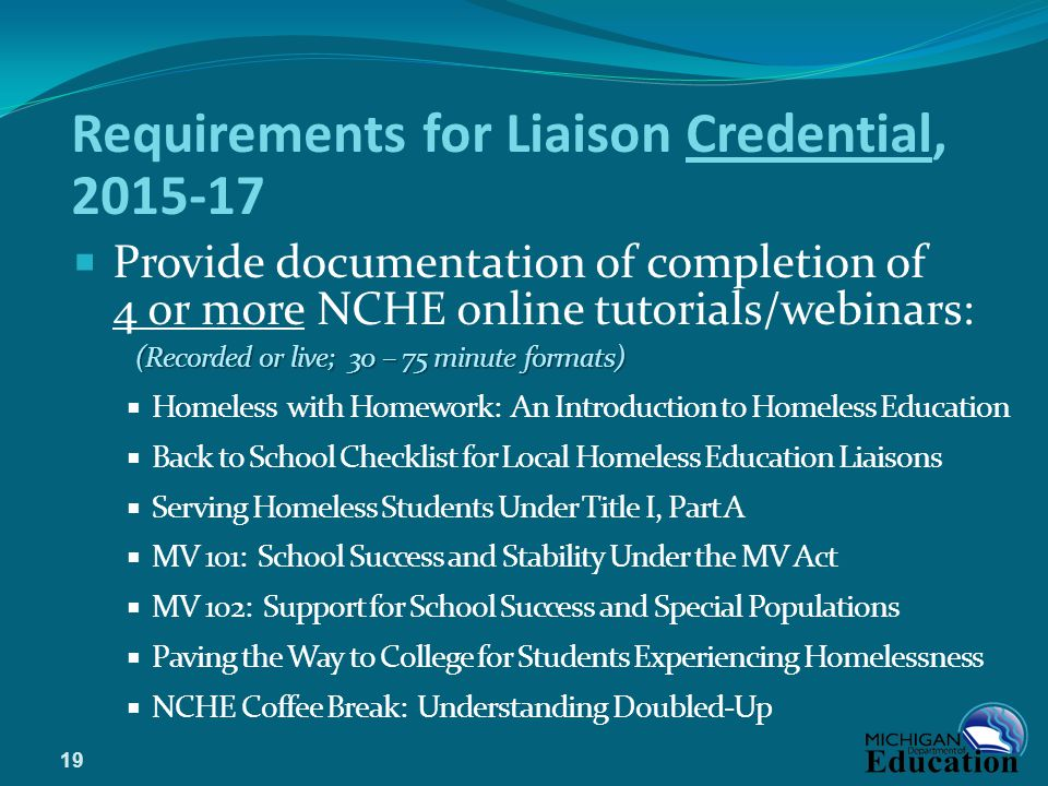 Requirements for Liaison Credential, 2015-17