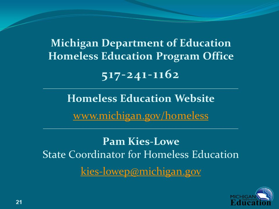 517-241-1162 Michigan Department of Education