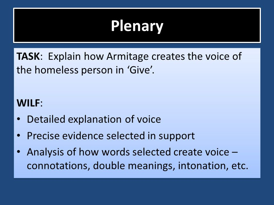 Plenary TASK: Explain how Armitage creates the voice of the homeless person in 'Give'. WILF: Detailed explanation of voice.