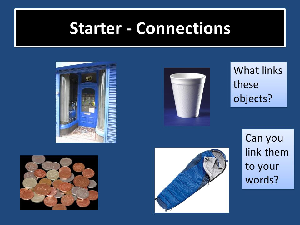 Starter - Connections What links these objects