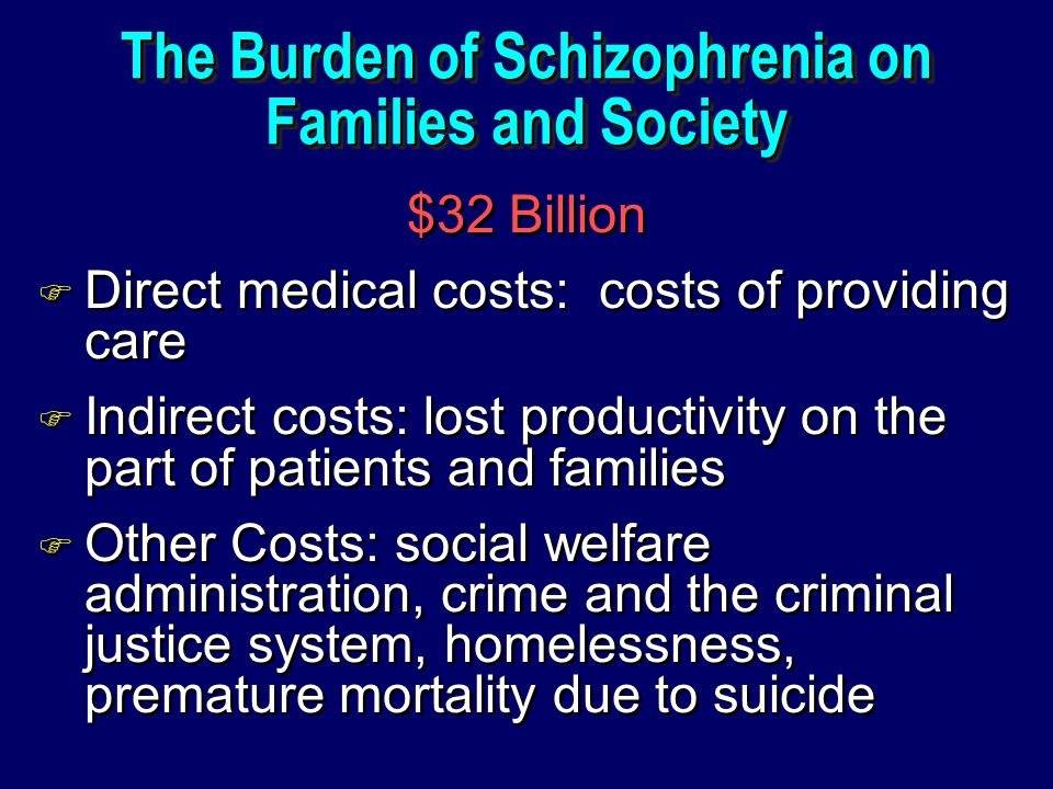 The Burden of Schizophrenia on Families and Society