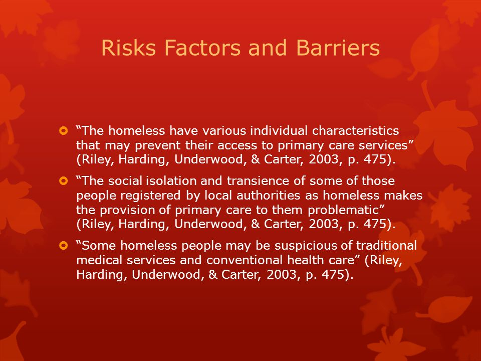 Risks Factors and Barriers