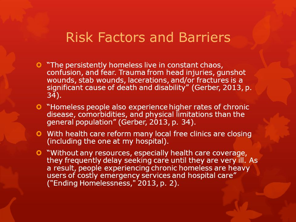 Risk Factors and Barriers