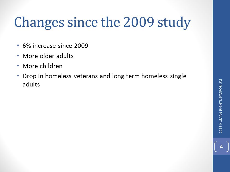 Changes since the 2009 study