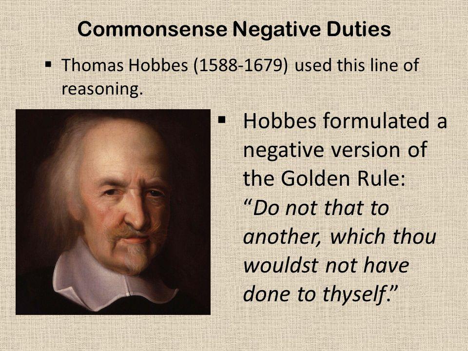 Commonsense Negative Duties