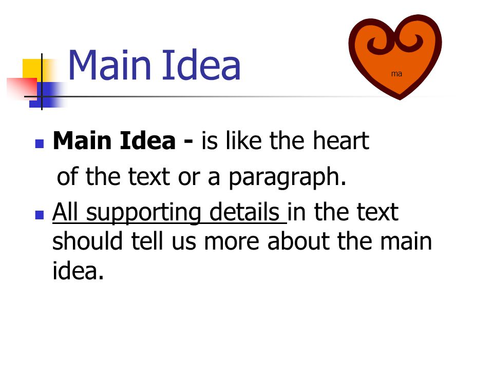 Main Idea Main Idea - is like the heart of the text or a paragraph.