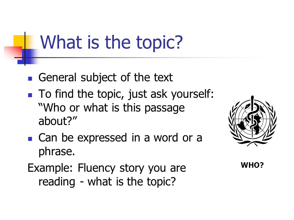 What is the topic General subject of the text