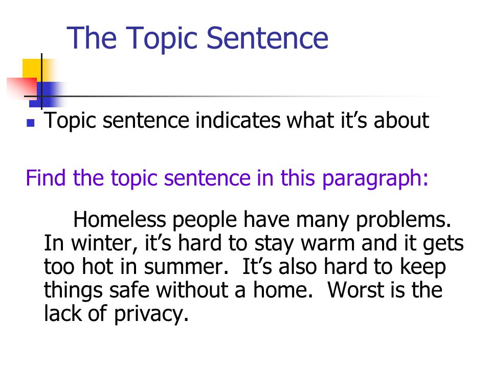 The Topic Sentence Topic sentence indicates what it's about
