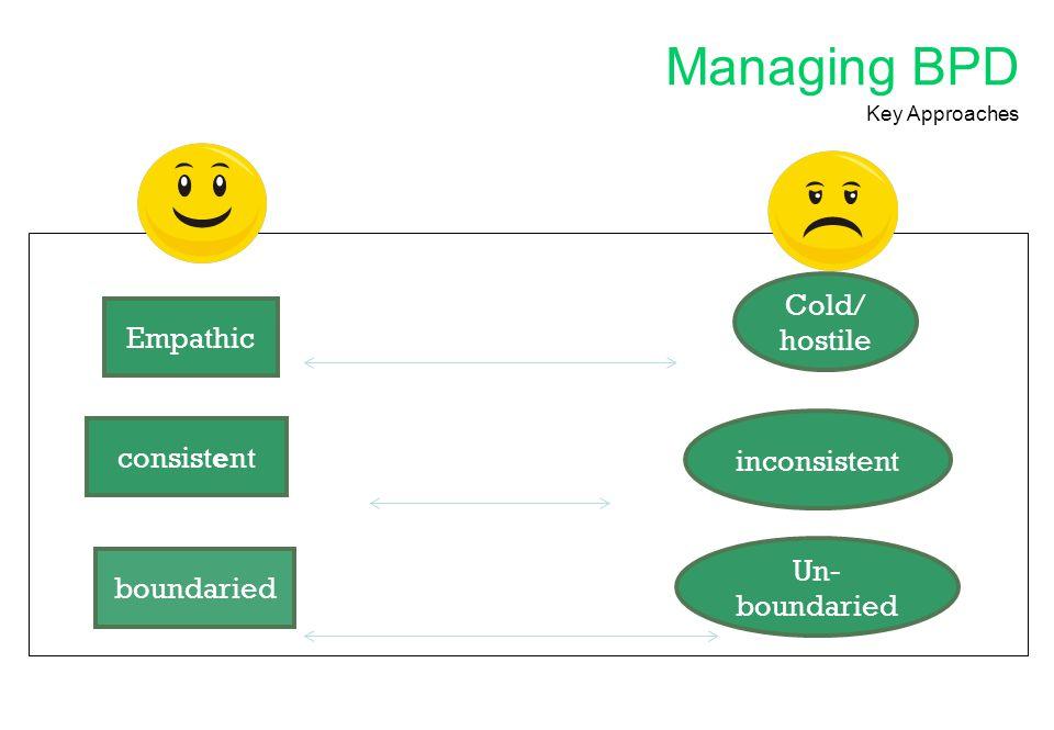 Managing BPD Cold/ hostile Empathic consistent inconsistent
