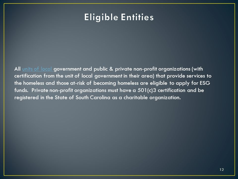 Eligible Entities