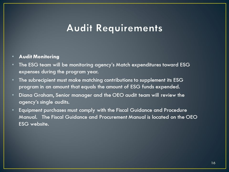 Audit Requirements Audit Monitoring