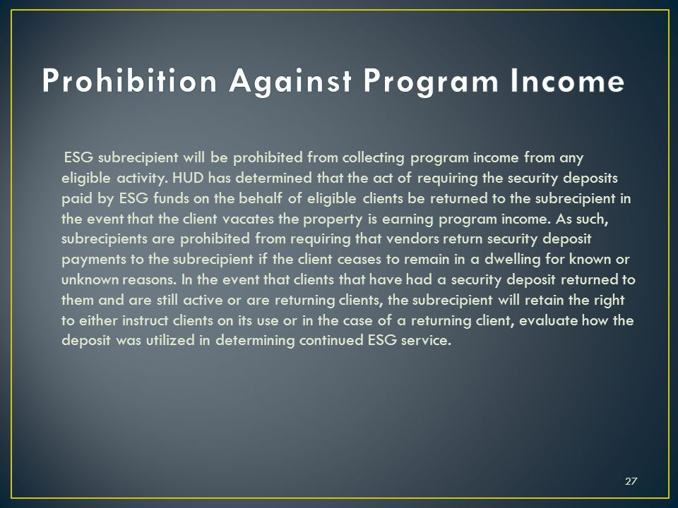 Prohibition Against Program Income