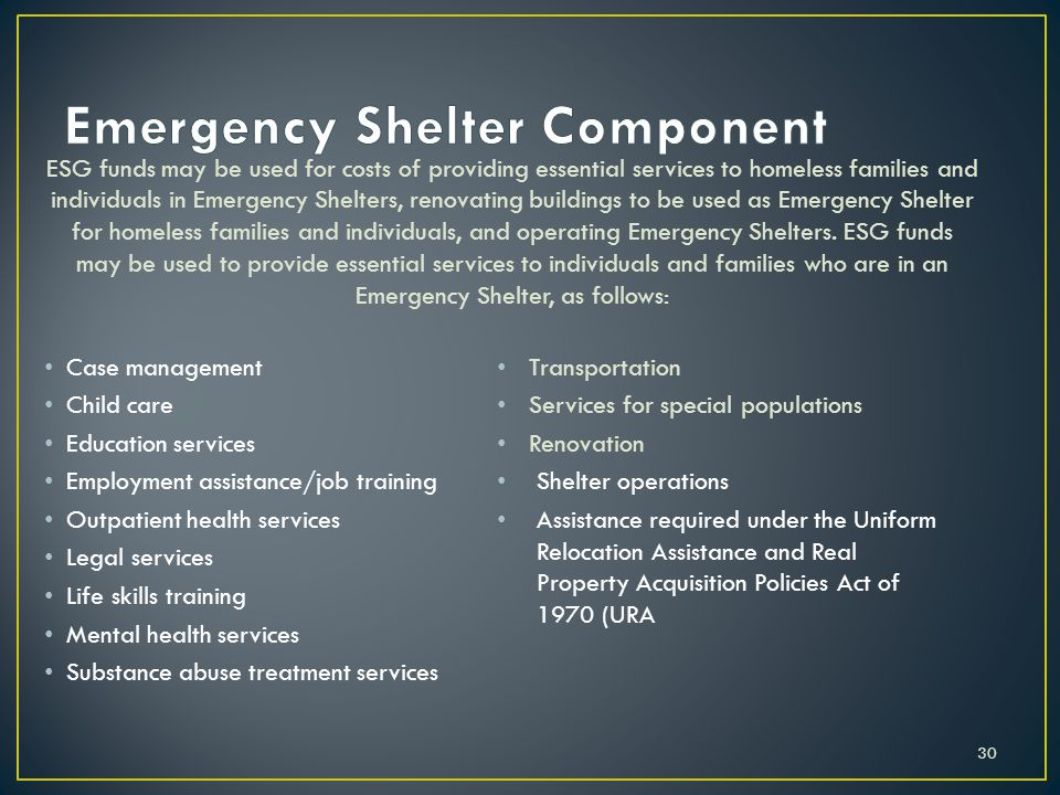Emergency Shelter Component