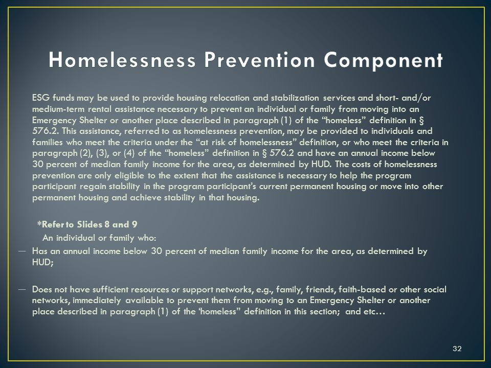 Homelessness Prevention Component
