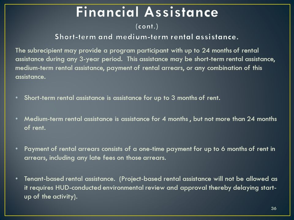 Financial Assistance (cont