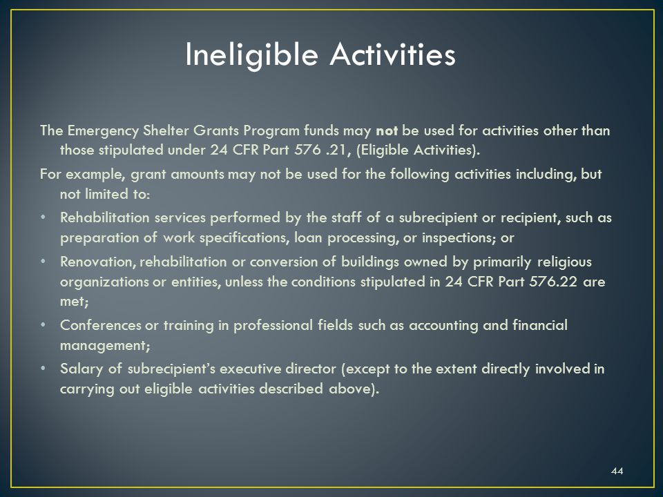 Ineligible Activities