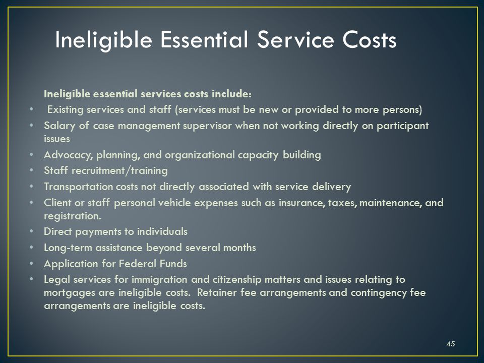 Ineligible Essential Service Costs