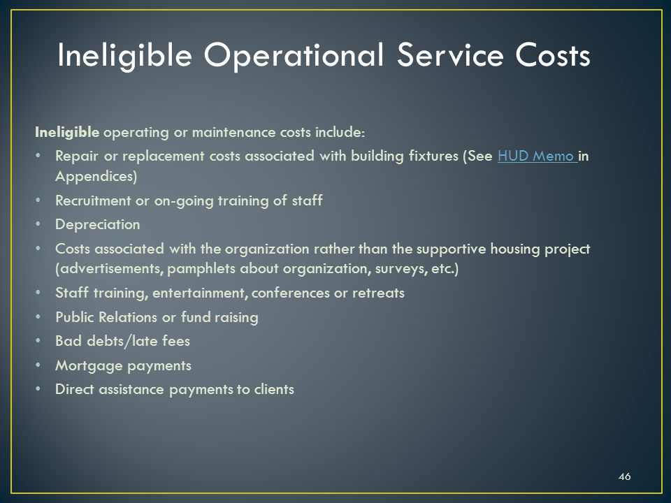 Ineligible Operational Service Costs