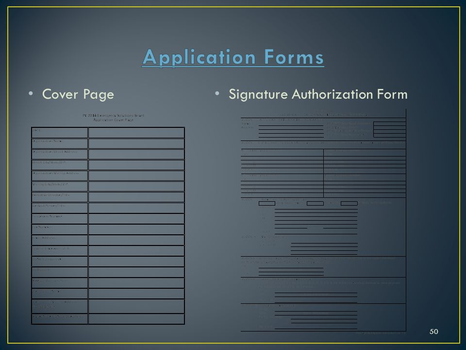 Application Forms Cover Page Signature Authorization Form
