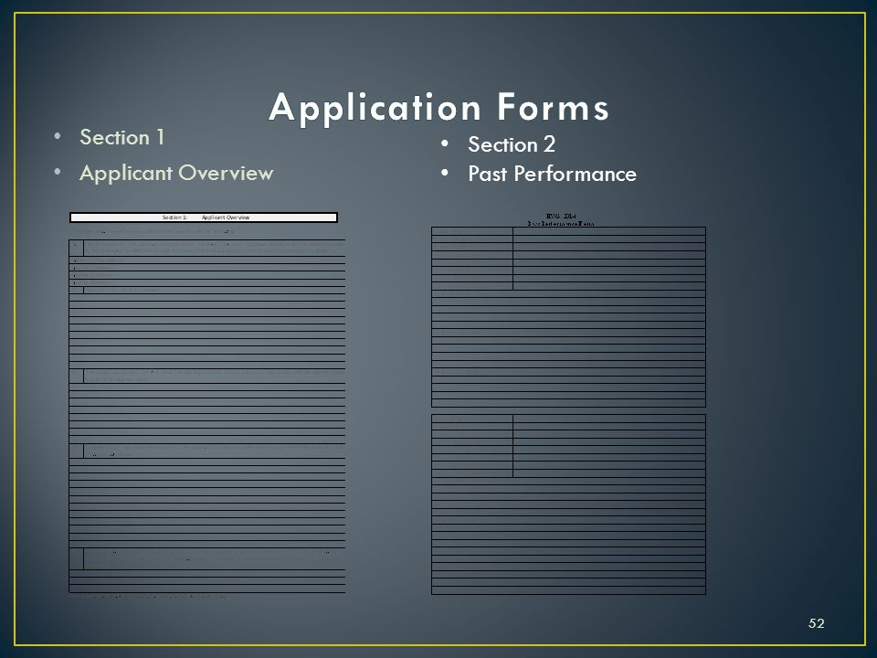 Application Forms Section 1 Section 2 Applicant Overview