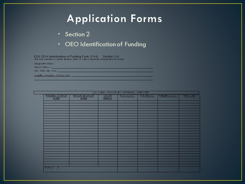 Application Forms Section 2 OEO Identification of Funding