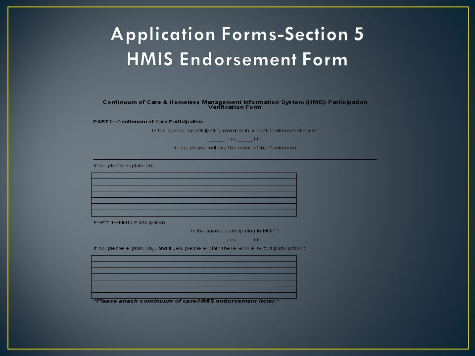 Application Forms-Section 5 HMIS Endorsement Form