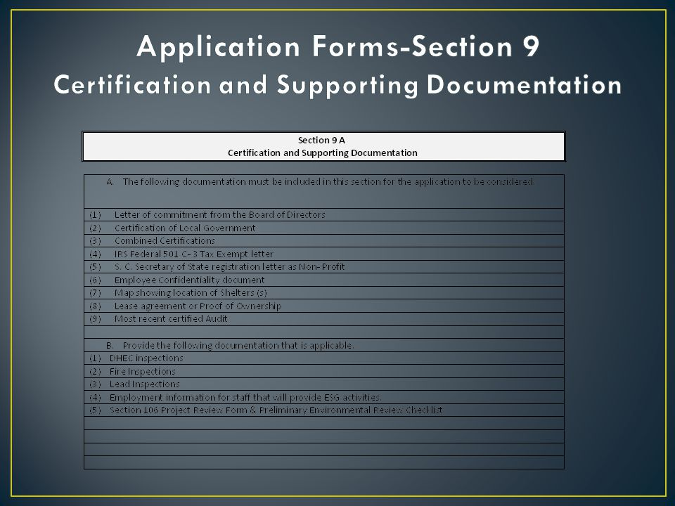 Application Forms-Section 9 Certification and Supporting Documentation