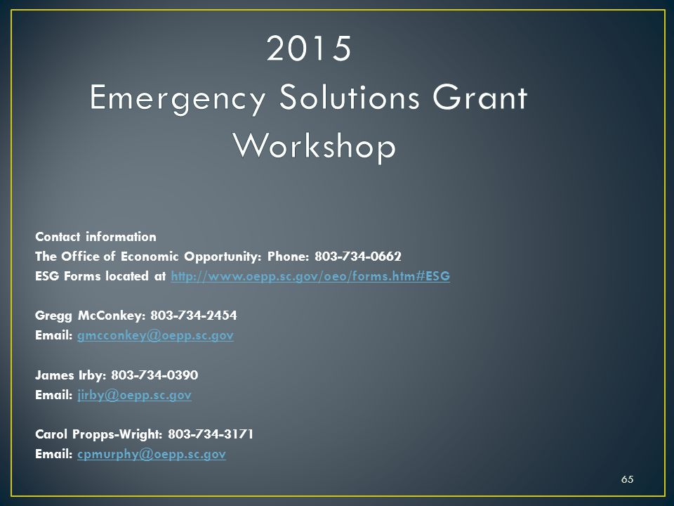 2015 Emergency Solutions Grant Workshop