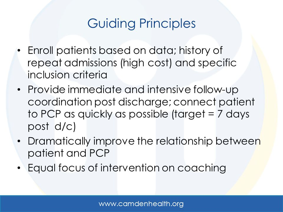 Guiding Principles Enroll patients based on data; history of repeat admissions (high cost) and specific inclusion criteria.