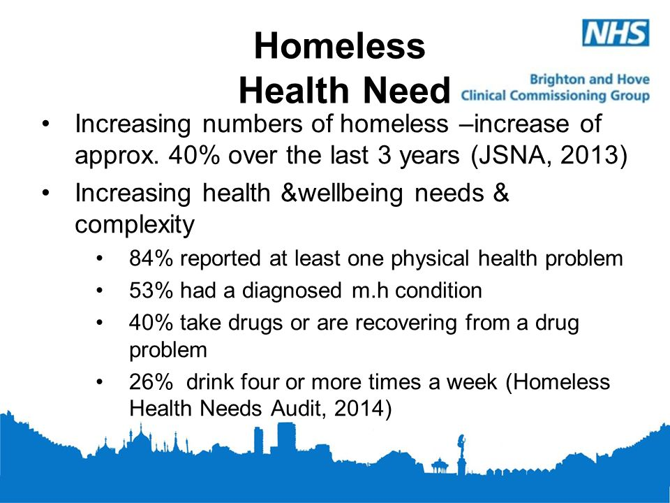 Homeless Health Need Increasing numbers of homeless –increase of approx. 40% over the last 3 years (JSNA, 2013)
