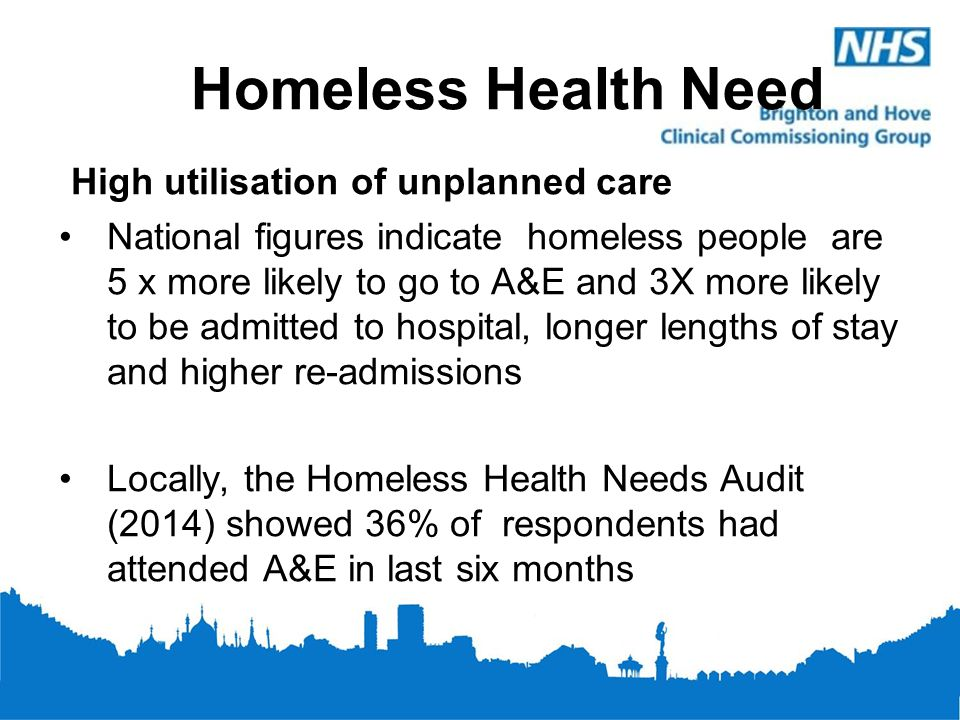 Homeless Health Need High utilisation of unplanned care