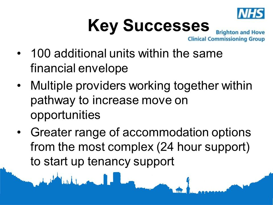 Key Successes 100 additional units within the same financial envelope