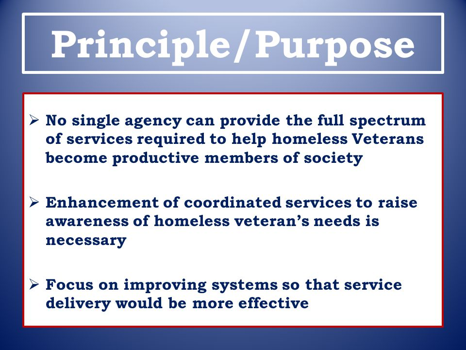 Principle/Purpose No single agency can provide the full spectrum of services required to help homeless Veterans become productive members of society.