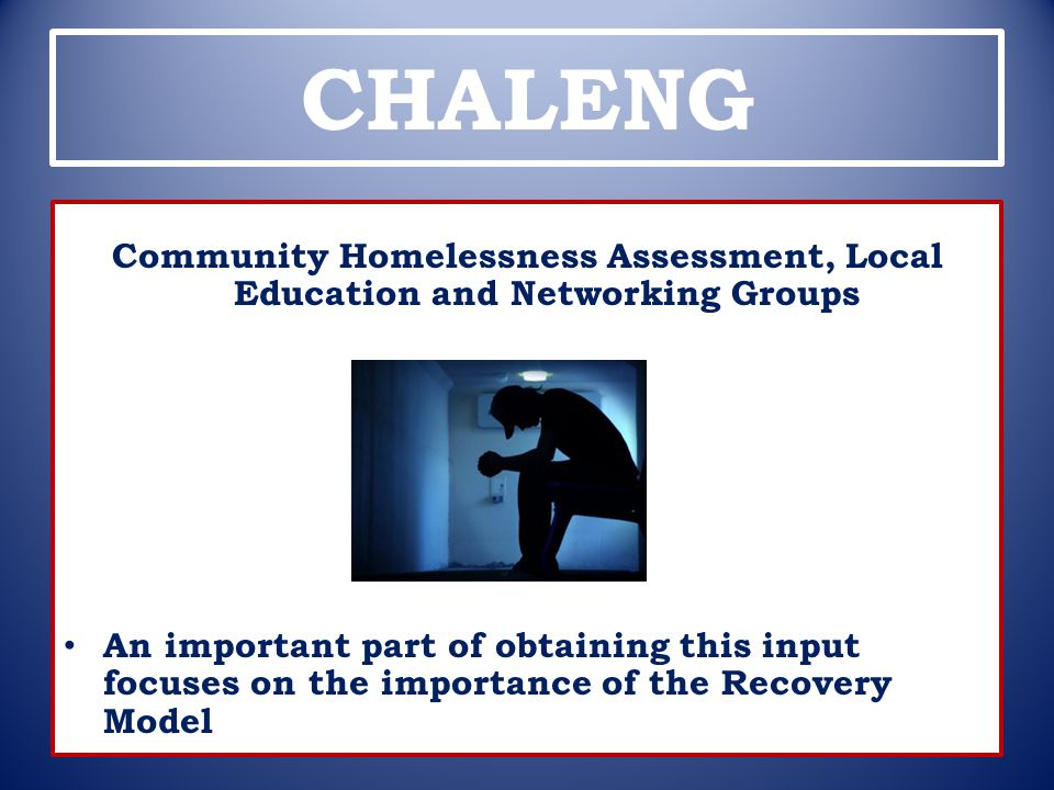 CHALENG Community Homelessness Assessment, Local Education and Networking Groups.
