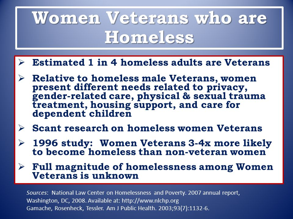 Women Veterans who are Homeless