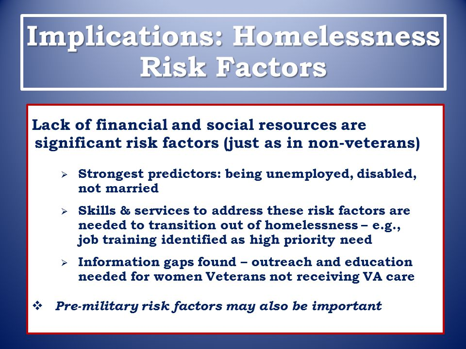 Implications: Homelessness Risk Factors