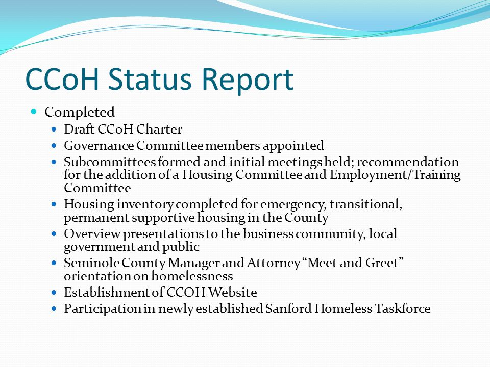 CCoH Status Report Completed Draft CCoH Charter