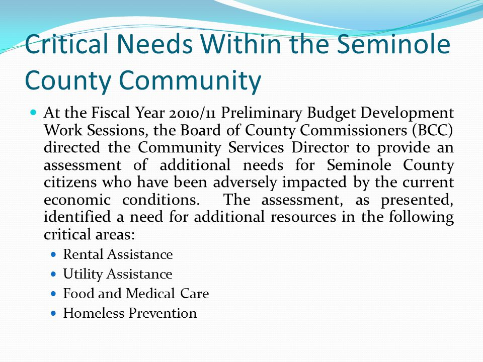Critical Needs Within the Seminole County Community