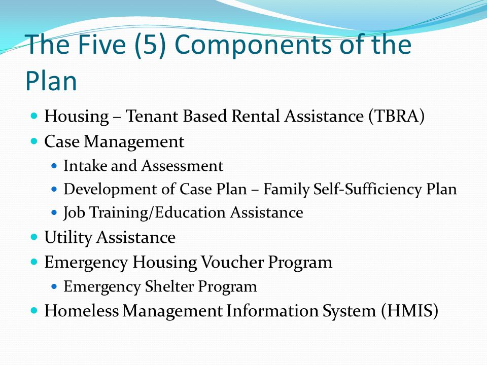 The Five (5) Components of the Plan
