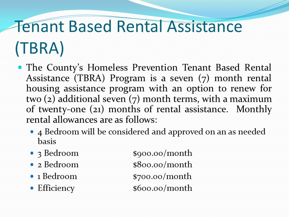 Tenant Based Rental Assistance (TBRA)