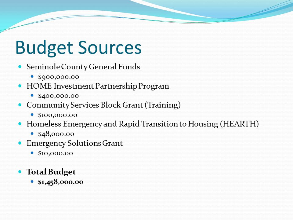 Budget Sources Seminole County General Funds