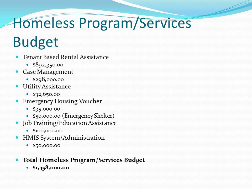 Homeless Program/Services Budget